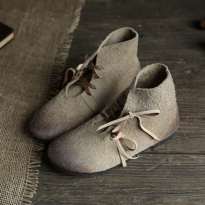 Giày nữ hàng Hot Tatsa dòng cá tính dày nhung dài booties retro màu phẳng mềm lớp dưới cùng bằng da