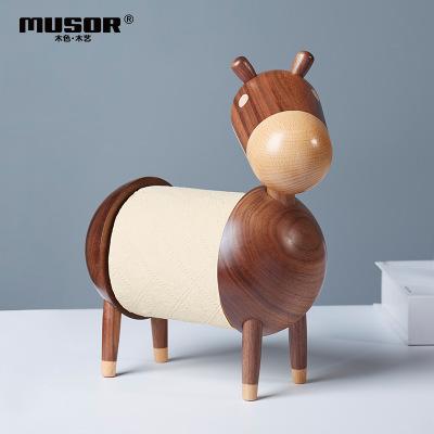 MUSEMUYI Đồ trang trí bằng gỗ Phim hoạt hình con lừa nhỏ sáng tạo khăn giấy bằng gỗ giá rắn giấy vệ