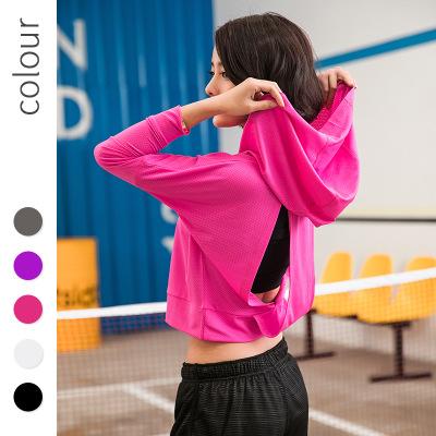 Đồ chống nắng mau khô Quần áo yoga thể thao áo khoác nữ dài tay ngoài trời lưới đỏ buổi sáng chạy áo