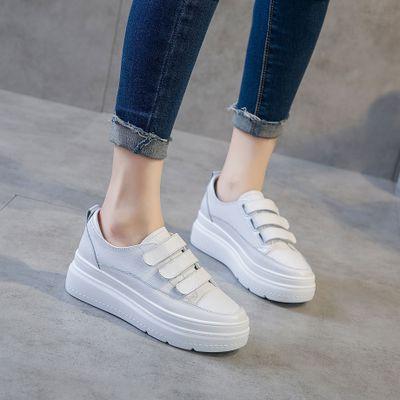 Giày trắng nữ Giày da mùa xuân và mùa hè mới 2019 Giày trắng Velcro Phiên bản Hàn Quốc thoải mái hoa