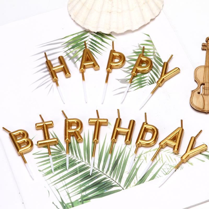 NLSX Nến Các nhà sản xuất cung cấp nến sinh nhật bằng bạc mạ vàng chữ chúc mừng sinh nhật bánh nướng