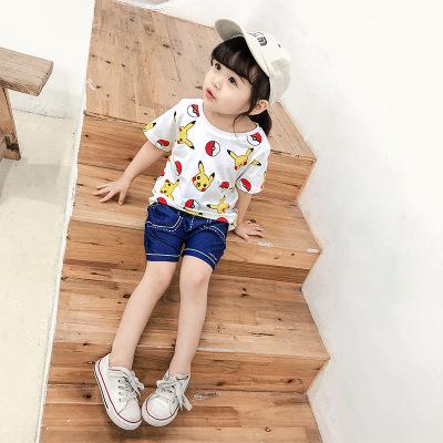 Áo thun trẻ em Mùa hè 2019 quần áo trẻ em mới cho bé trai và bé gái Pikachu in áo thun ngắn tay hoạt