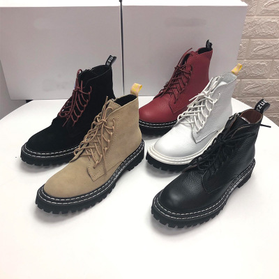 giày bánh mì / giày Platform Martin ủng nữ 2019 mới phong cách Anh da retro ủng nữ giày thường nữ tr