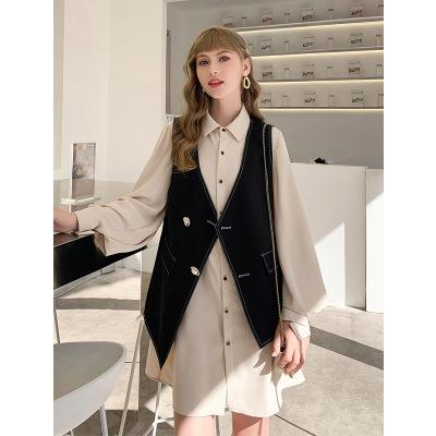 Đồ Suits Mùa thu mới 2019 gas ngoại cỡ lớn chất béo chị áo sơ mi rộng rãi váy vest hai mảnh đầm ngoạ