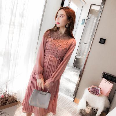 Trang phục bầu Giá áo bà bầu xuân hè 2019 thời trang mới thủy triều mẹ lửng đầm dài tay xếp li Hàn Q