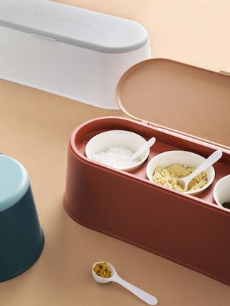 Cookever  Hũ nhựa Hộp đựng gia vị bằng nhựa đặt nắp có muỗng đựng gia vị bằng gốm