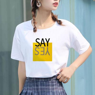 áo thun Một thế hệ hè 2019 mới của phụ nữ phiên bản Hàn Quốc của áo thun cotton tay ngắn chạm đáy xu