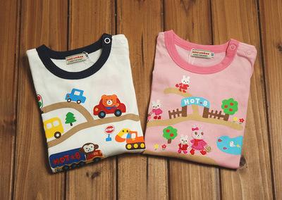 Áo thun trẻ em Mikiumkee2019 mùa thu mới đường vòng nam nữ quần áo trẻ em cotton Nhật Bản áo thun dà