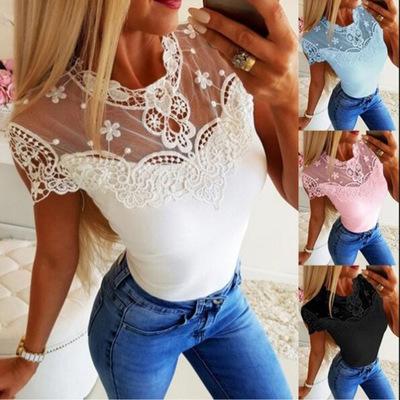 áo thun Mùa hè 2019 Mới AliExpress Amazon Exploding Sexy Ren Panel Áo thun ngắn tay