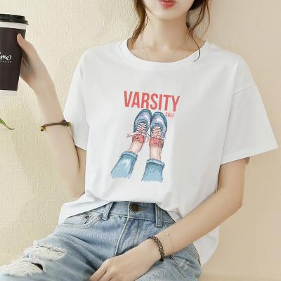 áo thun AliExpress chúc Amazon ebay xu hướng hot sale thêu gạc phối cảnh áo thun ngắn tay nữ điểm nh