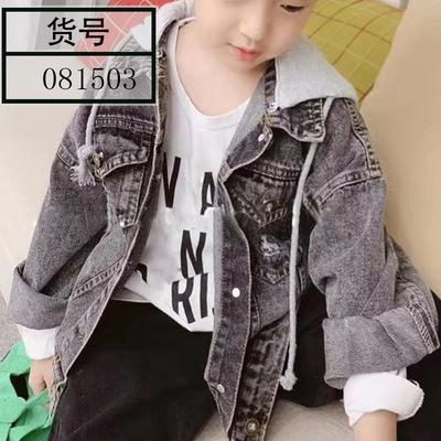 Trang phục Jean trẻ em 081503 19 tuổi đầu thu trẻ em hoang dã trùm đầu logo lớn giặt áo khoác denim