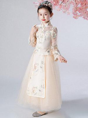 Trang phục dạ hôi trẻ em Cô gái sườn xám váy đầm đứng cổ áo Trung Quốc dài tay trẻ em phong cách Tru
