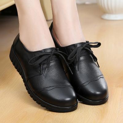 Giày da một lớp Giày da mới cho mẹ trung niên đầu tròn bằng phẳng Giày đế mềm, giày nữ bán buôn trực