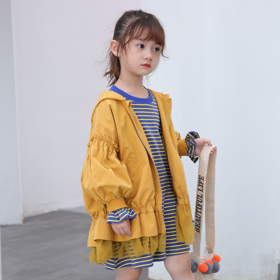 Thị trường trang phục trẻ em Nguồn nhà máy Phiên bản tiếng Hàn của áo trùm đầu màu rắn trẻ em áo gió