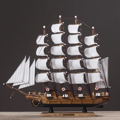 BUDINNGJIAJU Đồ trang trí bằng gỗ Địa Trung Hải mô hình thuyền trang trí Mô phỏng trang trí thuyền g