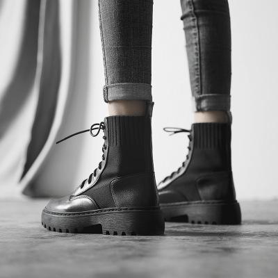 Giày trắng nữ Martin ủng nữ gió Anh 2019 mới mùa xuân hoang dã và mùa thu đơn giày đế bệt ống ngắn g