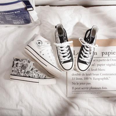 giày vải Giày cao bằng vải graffiti cao gót nữ màu trắng 2019 Học sinh Hàn Quốc cao giúp giày đế bệt