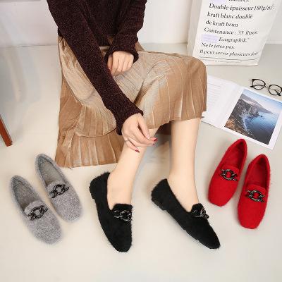 Giày GuangDong Net bờm nước đỏ 2019 mùa thu và mùa đông lông đơn giày cộng với nhung cỡ lớn nữ bằng