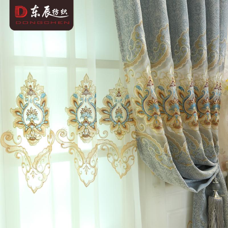 DONGCHEN Vải thêu Rèm cửa thêu châu Âu mới Rèm nước thêu hòa tan nước rèm phòng khách Phòng ngủ biệt