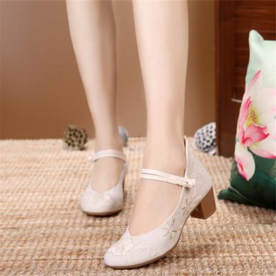 Giày da một lớp Thời trang nguyên bản cũ giày vải Bắc Kinh Hanfu phong cách quốc gia vuông với dày g