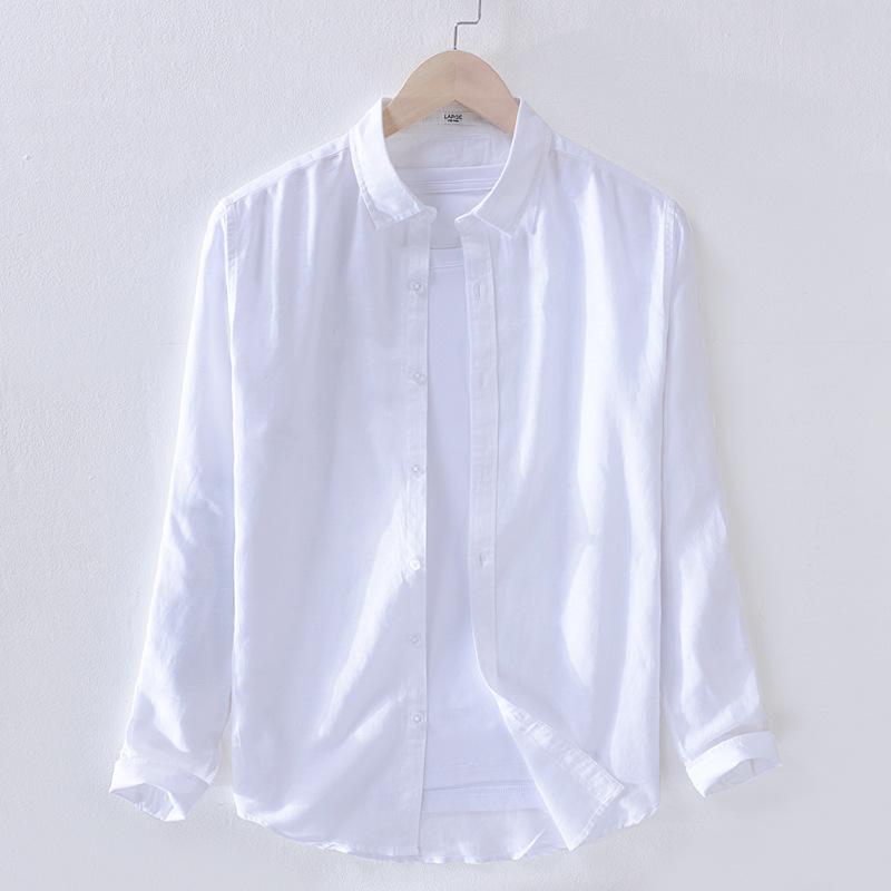 DENIFU Áo sơ mi nam cotton mới và cotton dài tay màu trắng văn học hoang dã giản dị áo sơ mi vải lan
