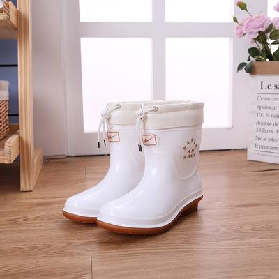 Giày bảo hộ Giày ống chống trượt ngoài trời vừa và thấp ống thực phẩm ủng trắng nam và nữ căng tin m