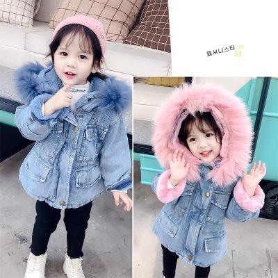 Trang phục Jean trẻ em Trẻ em cộng với nhung denim 2019 mùa đông mới vừa và nhỏ Trẻ em phiên bản Hàn