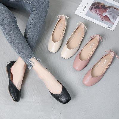 giày bệt nữ Giày đế bệt cỡ lớn 41-43 Giày bà bình thường hoang dã 2019 xuân hè mới đầu vuông cỡ nhỏ