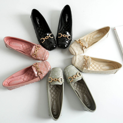 Giày da một lớp Giày đế mềm bằng nhung mềm 2019 Giày nữ mới mùa thu Giày mẹ Hàn Quốc Giày đế bệt đế