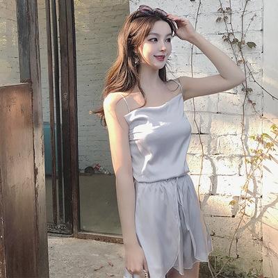 Đồ Suits Mùa hè 2018 phiên bản mới của Hàn Quốc của sling + quần short Hồng Kông gió hai mảnh nữ ret