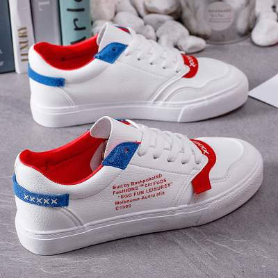 Giày Sneaker / Giày trượt ván Làn sóng mới bằng da màu trắng Giày nữ sinh viên hoang dã Giày thông t