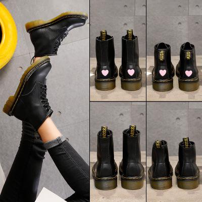giày bệt nữ Quạt Shun giày 1688-12 Martin ủng nữ gió Anh đầu máy retro trong ống mùa thu và mùa đông
