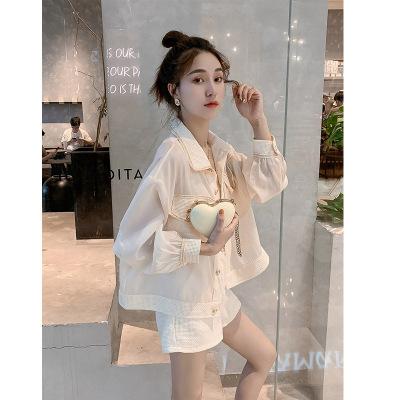 Đồ Suits Áo khoác nữ thời trang nước hoa nhỏ sơ mi hoang dã cardigan ngọt ngào phổ biến quần short k