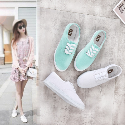 Giày trắng nữ Giày vải nhỏ Giày trắng nữ bình thường Giày phẳng 2019 xuân mới phiên bản Hàn Quốc hoa