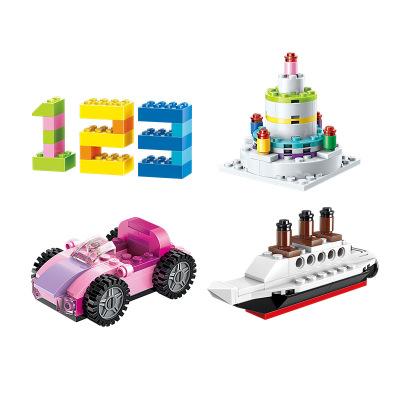 Đồ chơi sáng tạo Khối khai sáng 2901 trẻ em nhập cảnh sáng tạo hạt nhỏ câu đố lắp ráp 4 đồ chơi 3 bé