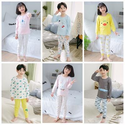 Đồ Suits trẻ em Bộ đồ lót cotton mùa thu 2019 cho bé trai và bé gái Bộ đồ ngủ mùa thu trong dòng sản