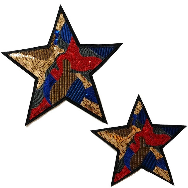 JIAMING Vảy kim tuyến Dán vải mới điểm năm sao đính hạt thêu quần áo phụ kiện áo len trang trí mẫu m