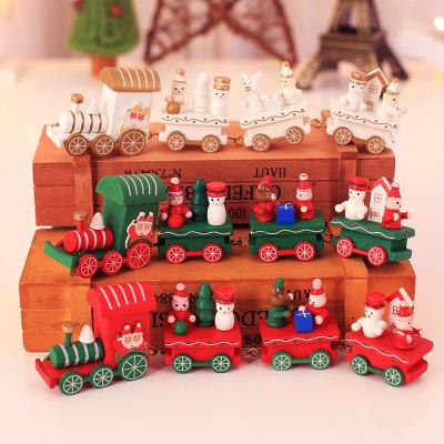 QUYIN Đồ trang trí bằng gỗ Đồ trang trí Giáng sinh, xe lửa gỗ Giáng sinh, mẫu giáo trẻ em, ngày lễ,