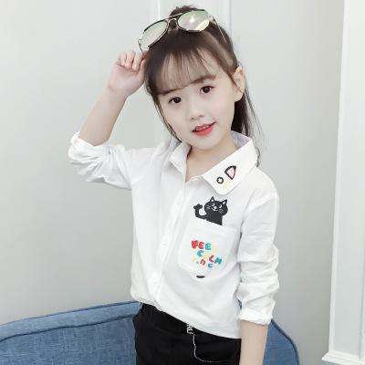 Áo Sơ-mi trẻ em Mùa thu 2019 quần áo trẻ em ve áo cô gái áo sơ mi dài tay hoạt hình mèo trẻ em áo sơ
