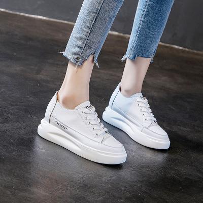 Giày trắng nữ Giày đế dày màu trắng nữ 2019 mùa thu mới tăng da bán buôn giày nữ phiên bản Hàn Quốc