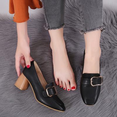 Giày GuangDong 2019 phiên bản mới của Hàn Quốc của giày cao gót vuông đầu dày thông thường với khóa
