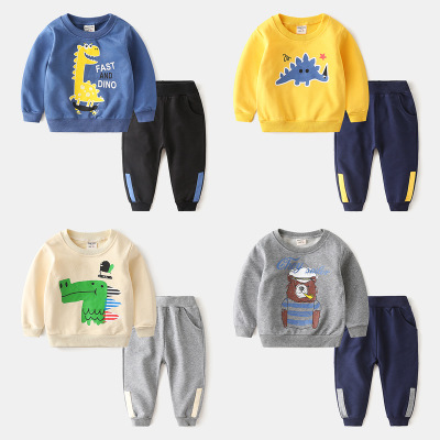 Đồ Suits trẻ em Bộ đồ trẻ em mùa thu 2019 quần áo trẻ em quần len bé trai hai mảnh áo sơ mi hoạt hìn