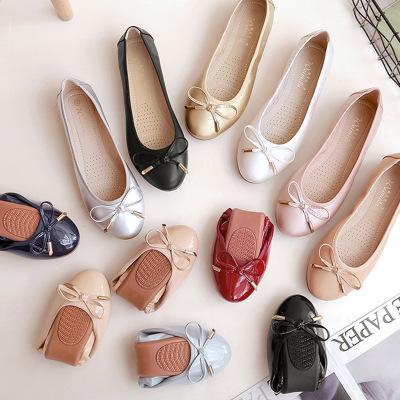 Giày GuangDong Giày đơn nữ 2019 Giày đế bằng mới nữ đế mềm có trứng cuộn Giày nữ bằng vải đậu Hà La