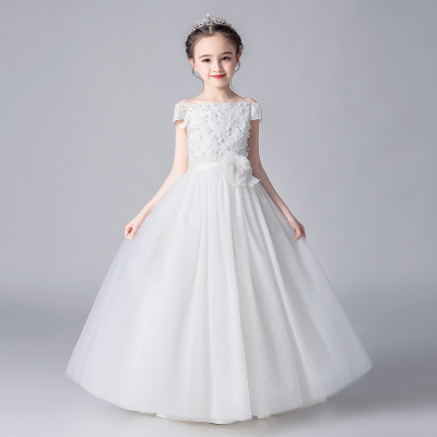 Trang phục dạ hôi trẻ em Mới của công chúa váy công chúa hoa cô gái váy cưới phần dài chủ nhỏ catwal