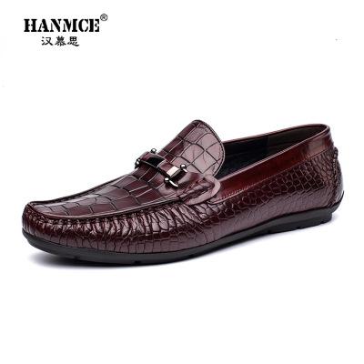 Giày mọi đế thấp 2019 Giày da nam kiểu da cá sấu đậu Hà Lan Giày nam đế xuồng nam xu hướng đạp giày