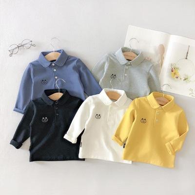 Áo thun trẻ em Mùa thu mới 2019 phiên bản Hàn Quốc của bé trai áo dài tay ngắn bé ve áo ve áo trẻ em