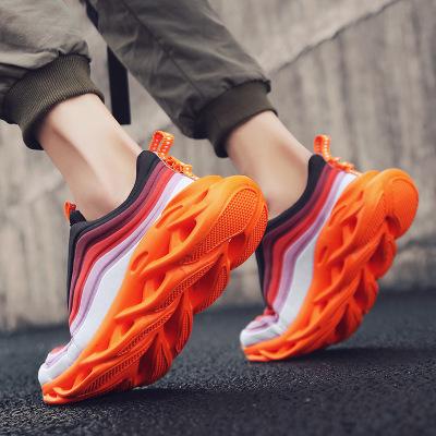Giày FuJian Đôi dao cạnh giày cũ thoáng khí mềm mại đôi giày đế mềm màu trắng cầu vồng giày chạy bộ