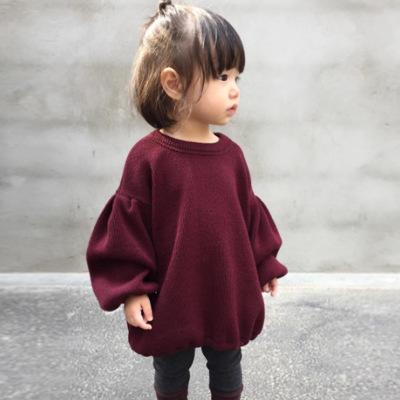 Áo thun trẻ em INS nổ quần áo trẻ em cô gái mùa xuân đèn lồng tay áo màu rắn trẻ em áo phông