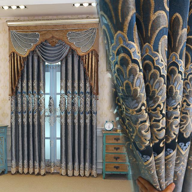 YOURUN Vải rèm cửa Rèm nhà sản xuất vải trực tiếp flannel laser thêu phong cách châu Âu rèm nước hòa