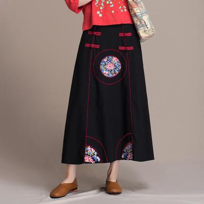 váy Giải phóng mặt bằng đặc biệt mùa xuân và mùa thu retro cotton và vải lanh nửa chiều dài Phong cá